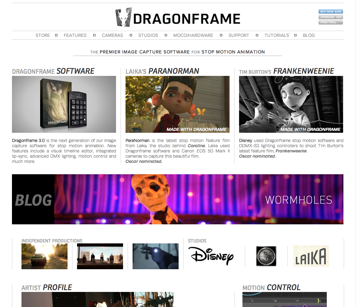 """""""Wormholes"""" was featured on the front page of the Dragonframe software website. This is the software I used to create my stop-motion film."""