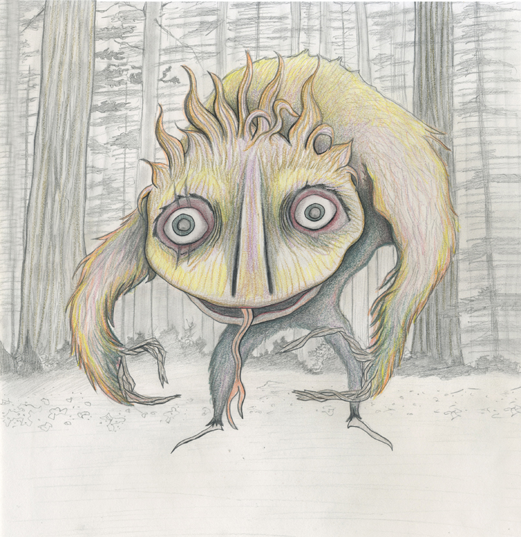 Forest Monster original sketch. Colored Pencil.