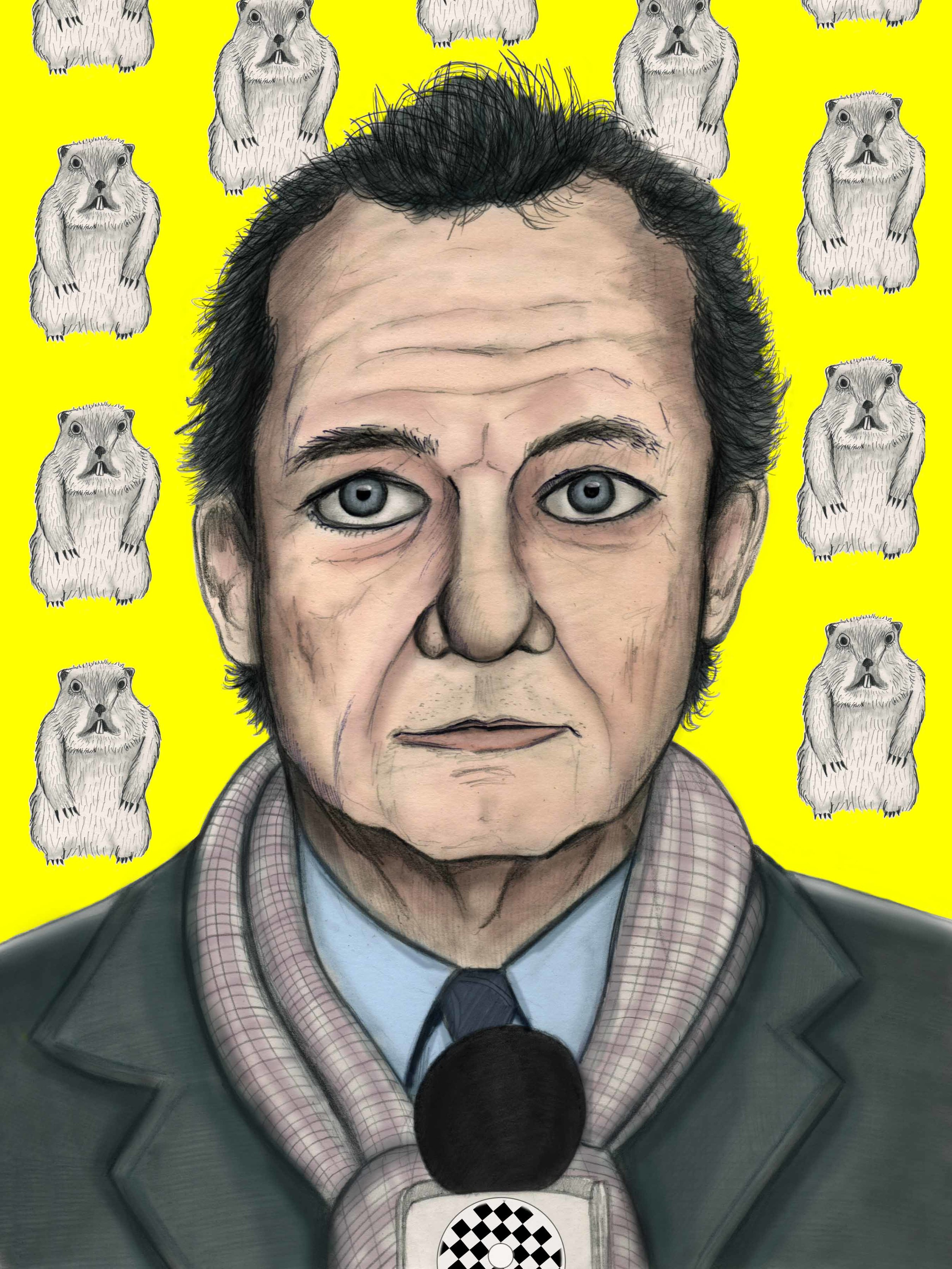 Bill Murray Illustration Groundhogs Day