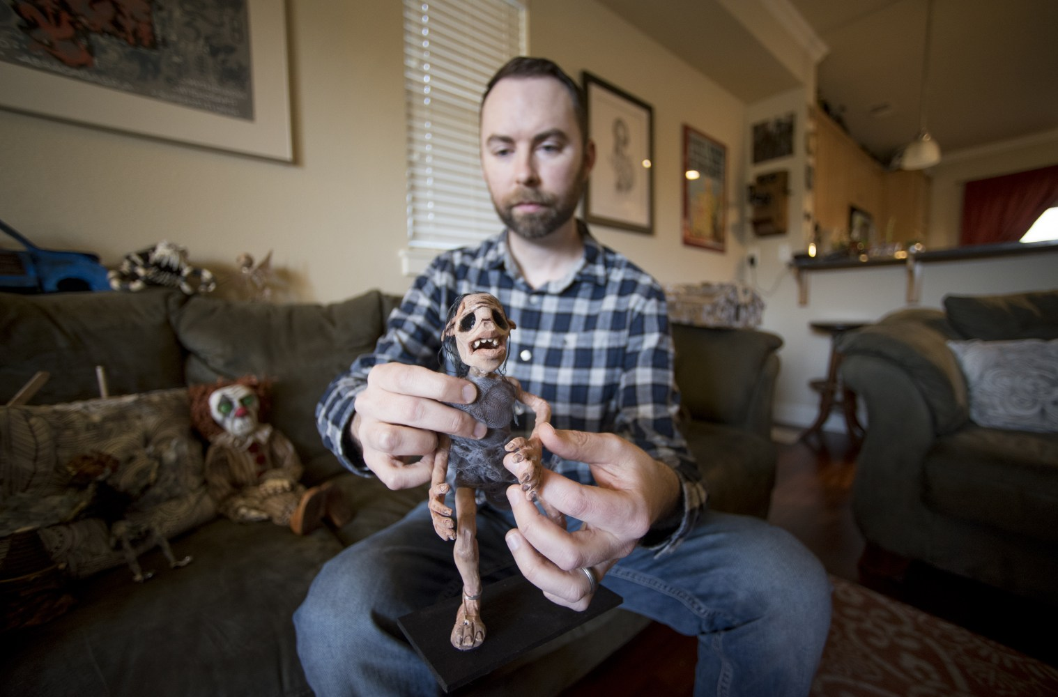 Josh Funk with Puppet - Photo by  Jessica Bartlett/University Photographer