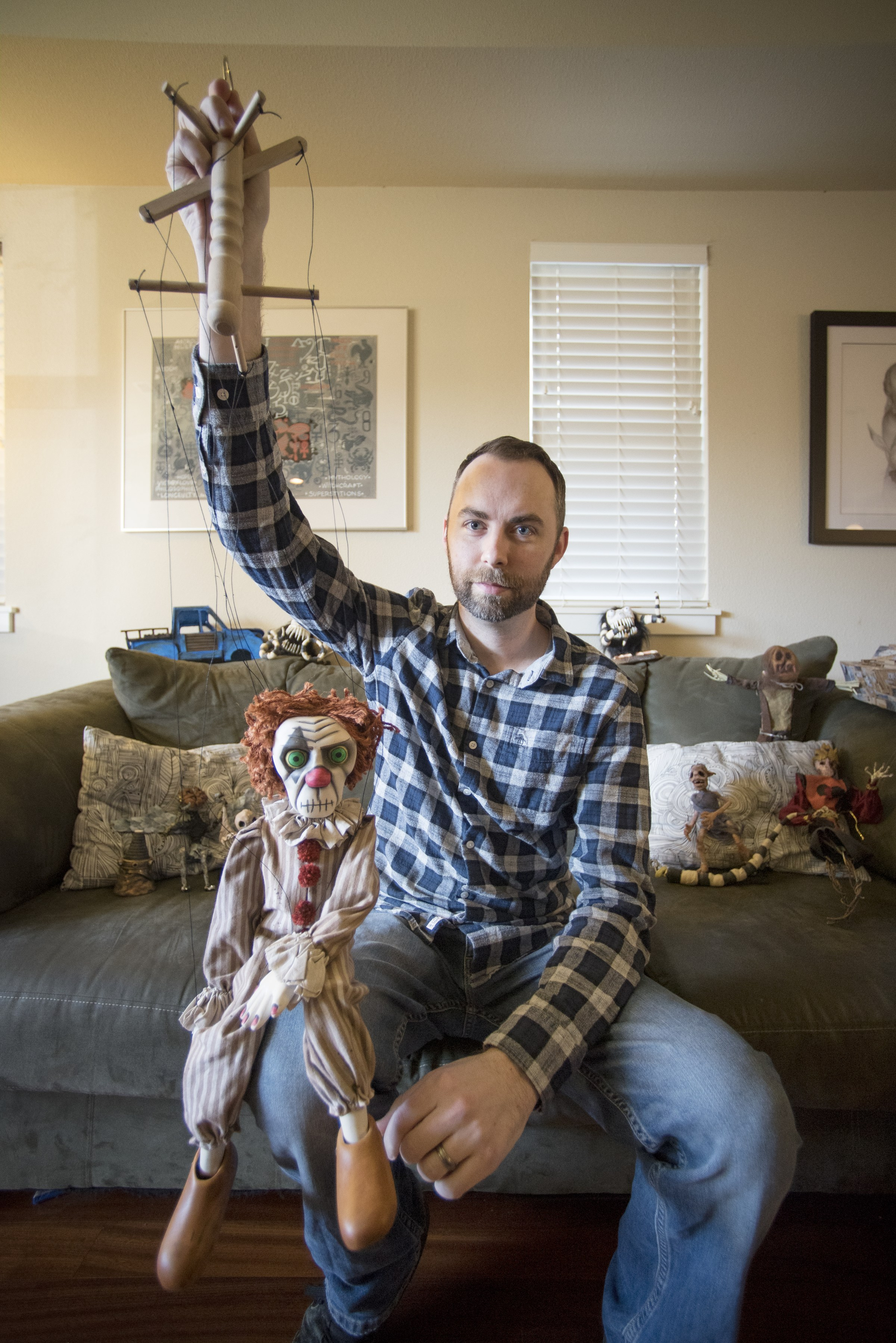 Josh Funk with Marionette Puppet - Photo by  Jessica Bartlett/University Photographer