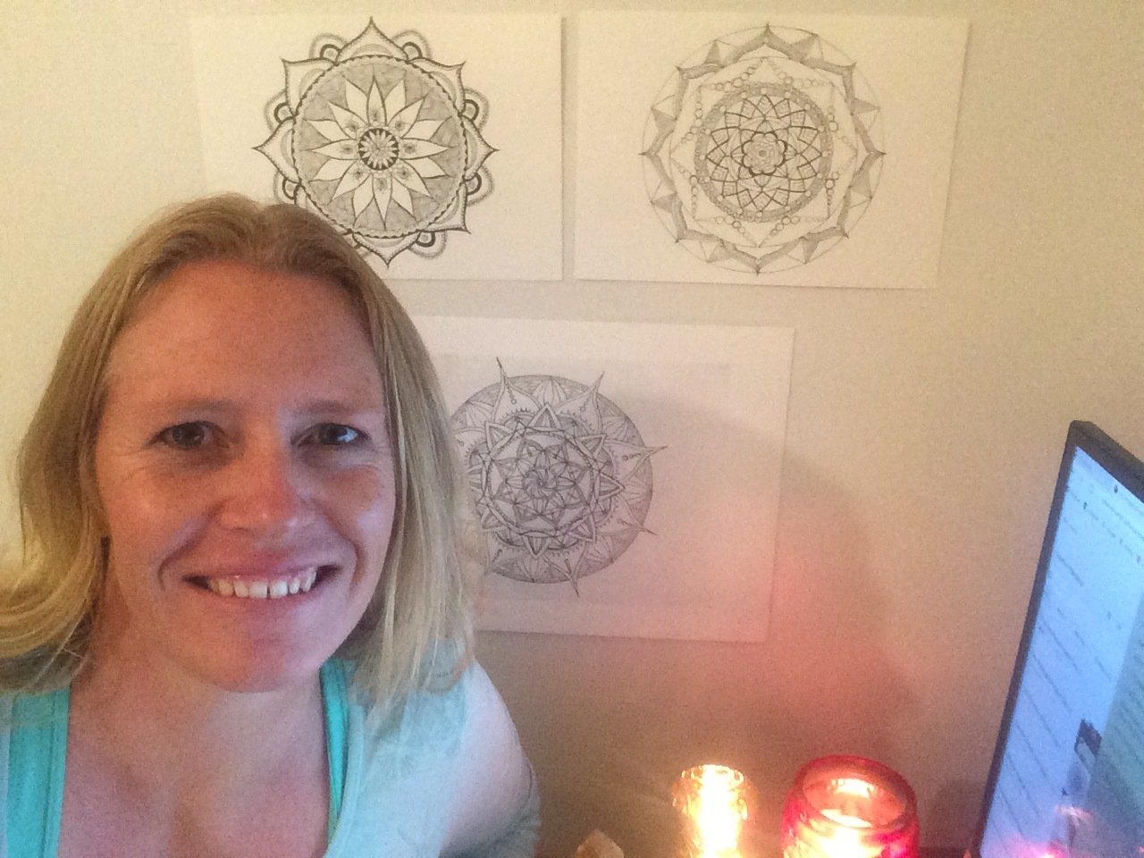 Quick selfie-Saturday with some of my mandalas and some candles lit in gratitude for you all!