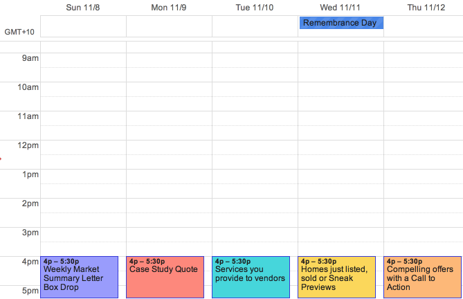 A standard weekly calendar for an agent that is used for leading agents.