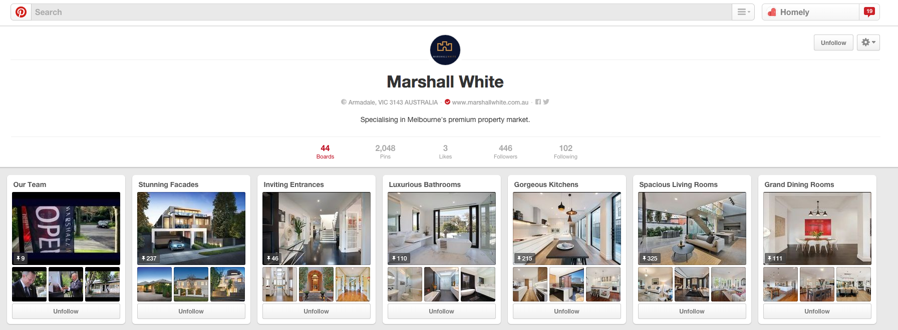 An example of a fleshed out Pinterest board.