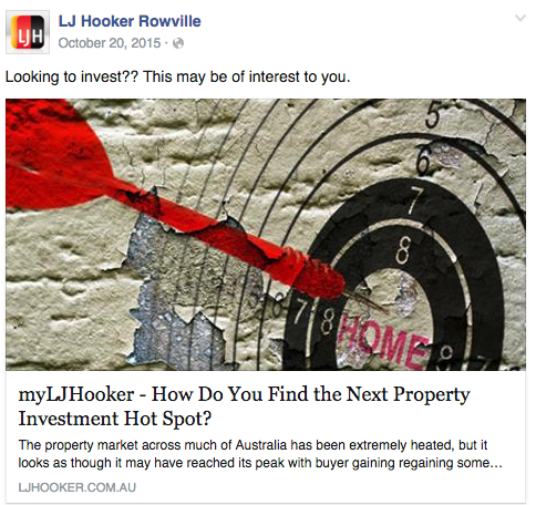 A 40 character Facebook update from  LJ Hooker Rowville .