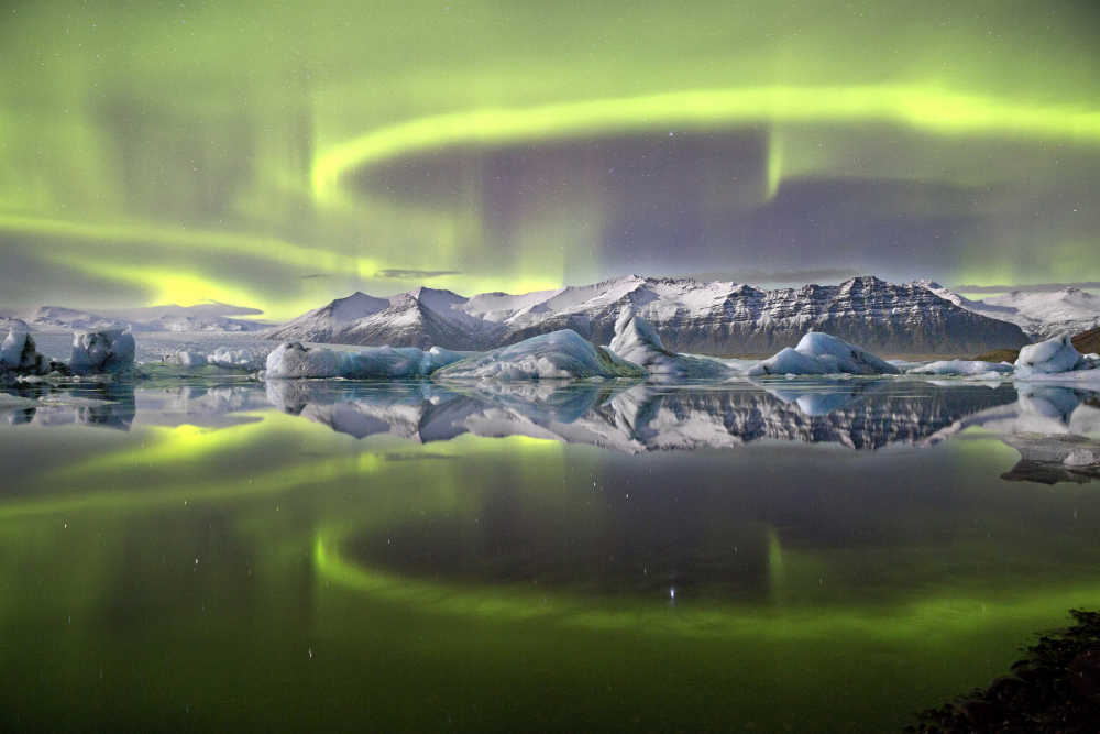 Overall winner:Aurora over a Glacier Lagoon by James Woodend (UK)