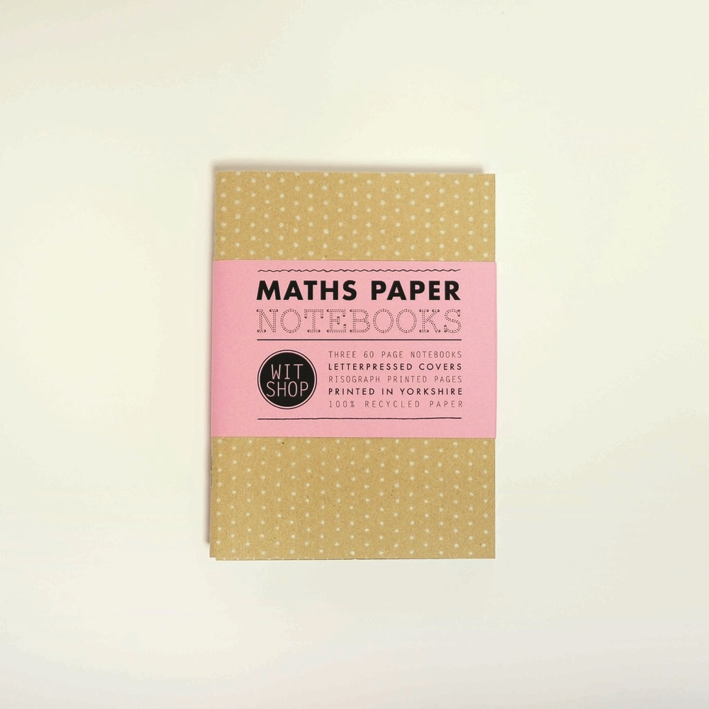 Maths Paper Notebooks ,£9  A celebration of school maths papers in a set of three: dotted, squared and isometric, bound in letterpressed covers.