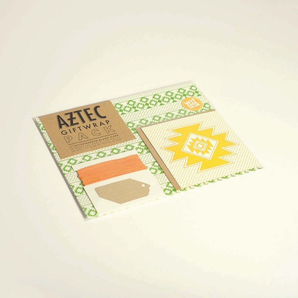 Aztec Gift Wrap Pack,£5.40   To make your pressie zing with colour this pack comes with jazzy green gift wrap, yellow greeting card andorange ribbon.