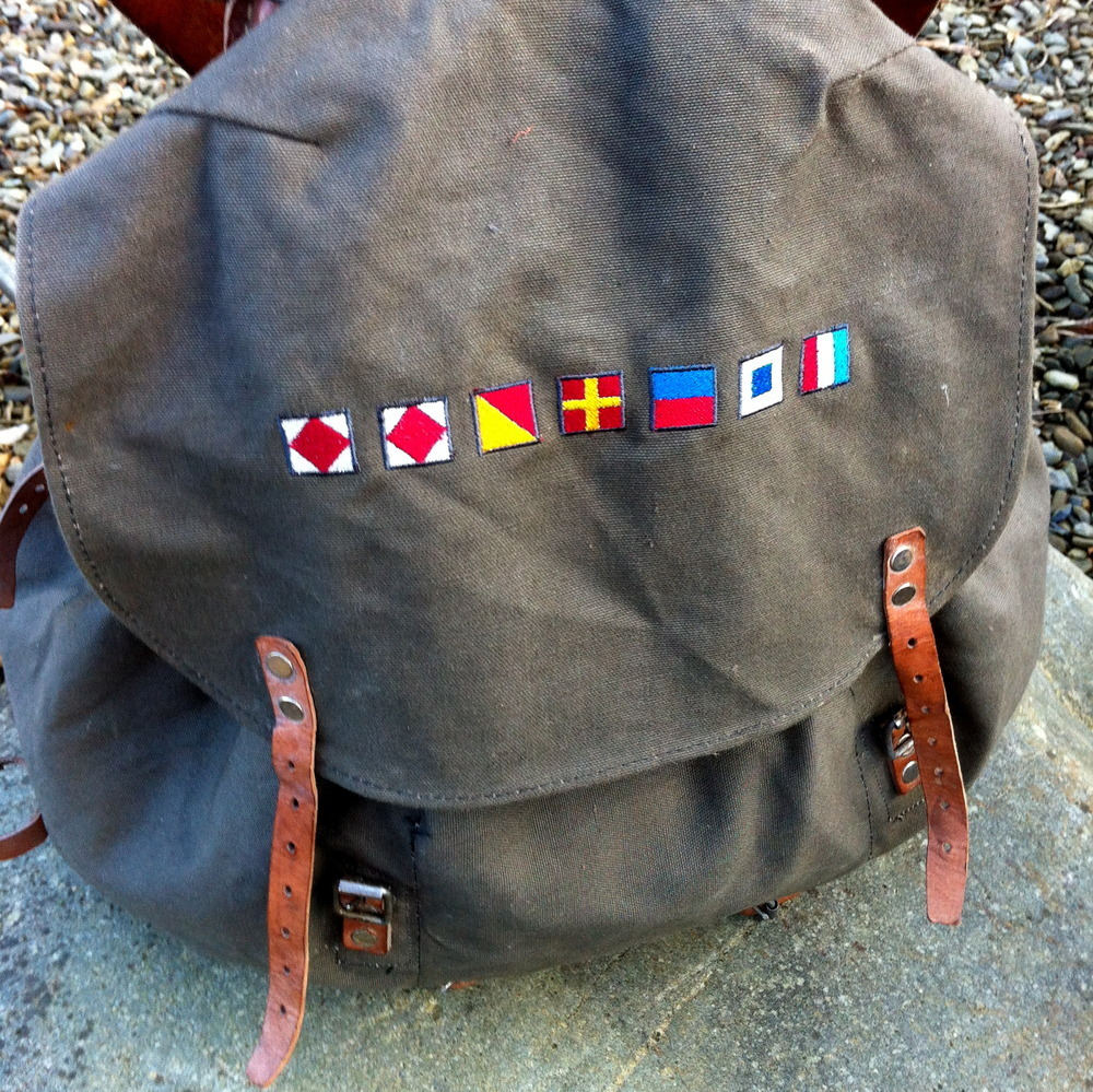 Fforest Utility Nautical Rucksack, £75   Second World War Swedish Army rucksack with strong canvas on metal frame and adjustable leather straps. Embroidered with beautiful nautical flags.