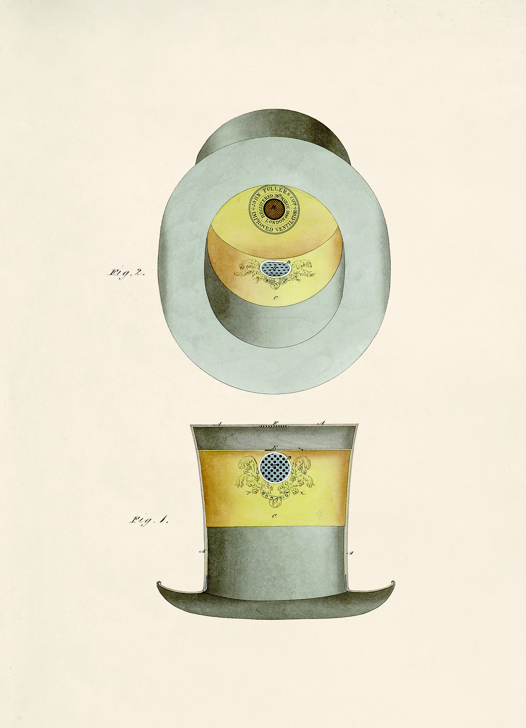 Design for a Bonafide Ventilating Hat , 1849,  Inventions That Didn't Change The World , by Julie Halls, published by  Thames & Hudson