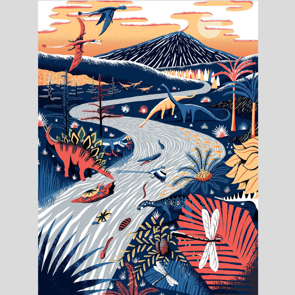 Late Jurassic  , by Sam Brewster We're enchanted by this limited edition print illustration of a Pangaean landscape teeming with Jurassic life.  £85