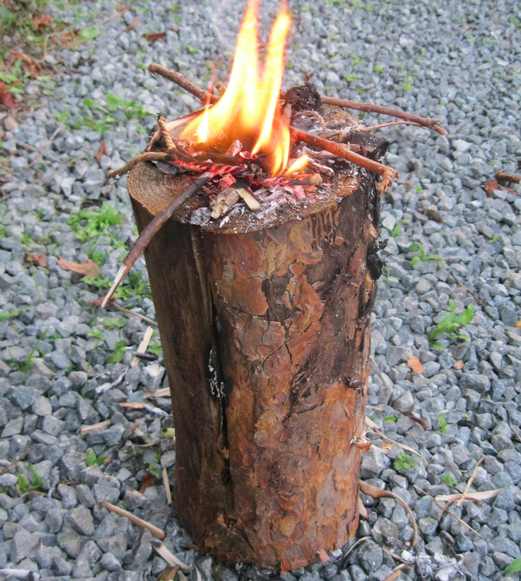 A Swedish torch log burns for two to four hours