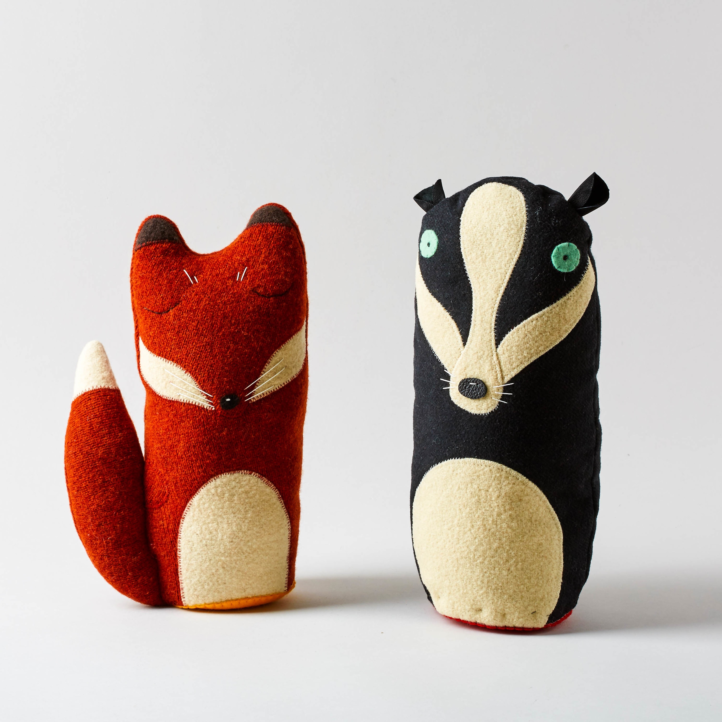 Mr Badger & Mr Fox  Wonderful creatures handmade by textile artist Mimi Soan. They are lightly weighted so they stand up tall.  £65 each