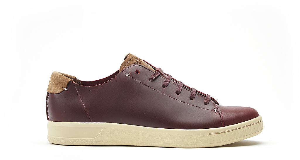 DEACON (  W0537), is a f  ive-eyelet unlined shoe in burgundy full grain leather and date palm suede, £80