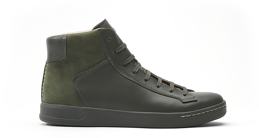HAWKING (W0539) is an eight-eyelet boot in dark olive full grain leather and nubuck, £90