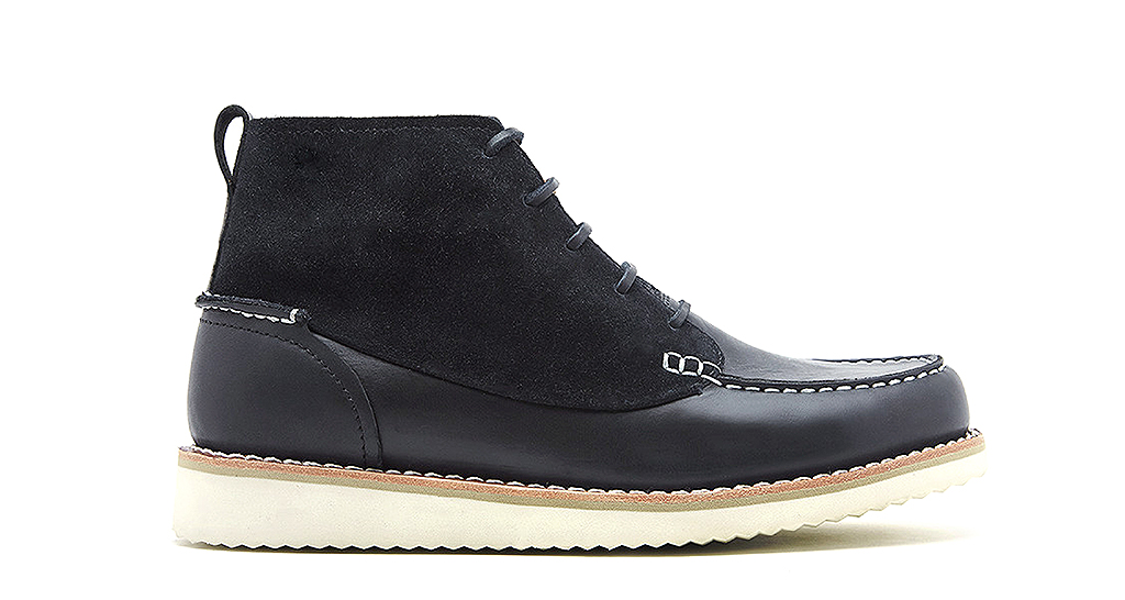 HOLDEN (W0463) is a five-eyelet Goodyear Welted moccasin front boot in black full grain leather and black suede, £150.