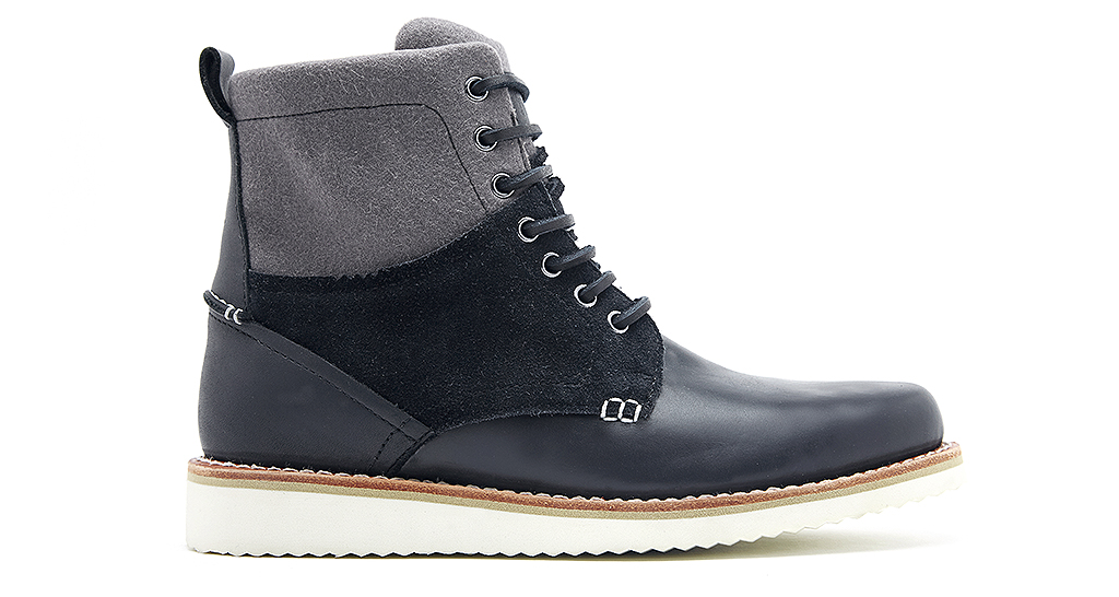 AMBLER (W0460) is a seven-eyelet Goodyear Welted plain front boot in black full grain leather black suede and dark grey wool, £160.