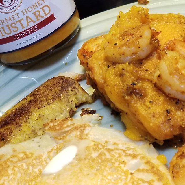 My good morning breakfast with Soulfusion Gourmet honey mustard- #mangoshrimp #sweetplantains #pancake  #breakfastideas #breakfast #foodies #honeymustard #chipotlemustard