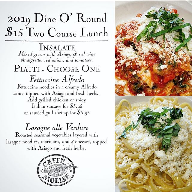 We are excited to be taking part in this year's Downtown Dine O'Round! We're offering a 2 course lunch menu including our house salad & your choice of our Fettuccine Alfredo, or Lasagne alle Verdure. Optional upgrades: grilled marinated chicken or shrimp, or spicy Italian sausage. 😋 A great chance to sample some great SLC spots! Be sure to check out all the participating partners all around downtown. Excellent value, great tastes. Cheers!
