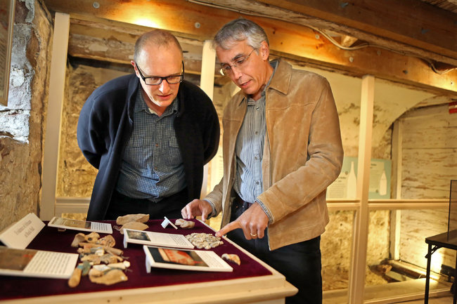 Chris Matthews, left, a professor at Montclair State University, with Ross Rava, an archaeological researcher. Photo credit: Andrea Mohin/ The New York Times
