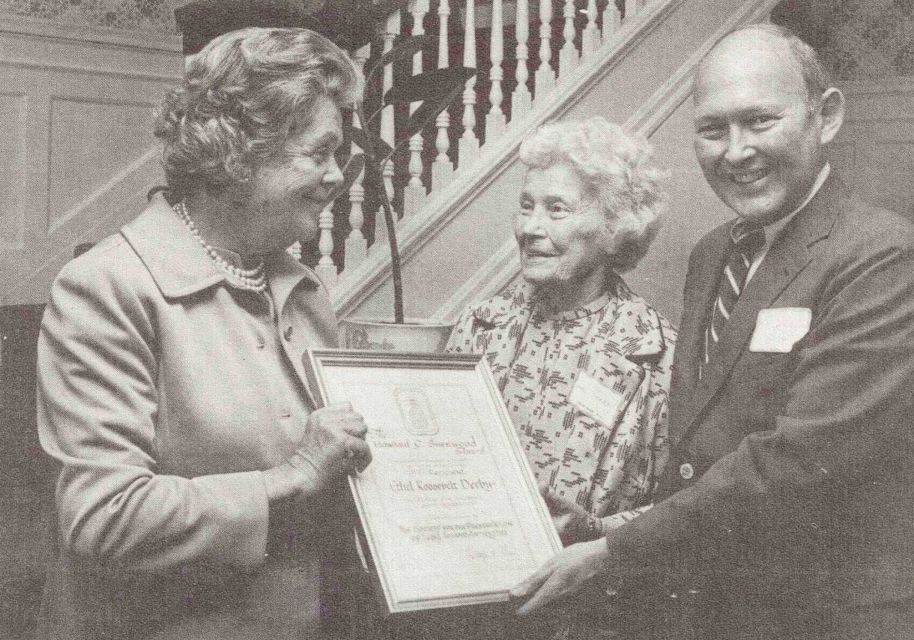 Bertha Benkard Rose, left, presents the Society for the Preservation of Long Island Antiquities' Sherwood Award for preservation of Sagamore Hill to Ethel Roosevelt Derby in 1977. Rose (1906-1982) was a leader in historic preservation and in charge of the restoration of Sagamore Hill.
