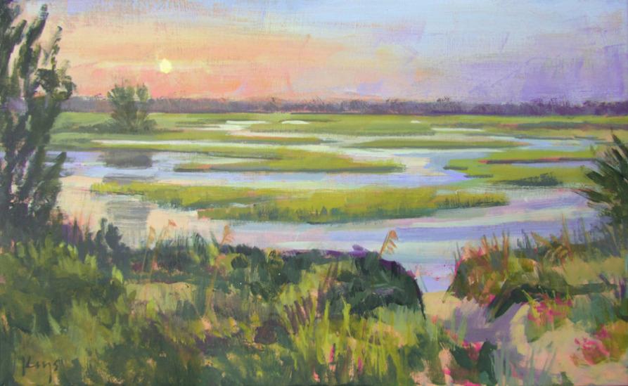 Sunset was created by Ben Keys en plein air at Wrightsville Beach, NC overlooking the marsh.