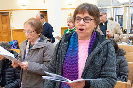 "Sr. Janet DiPasquale, SSJ and Sr. Mary Augusta Kaiser, SSJ sing ""Peaceprints"""