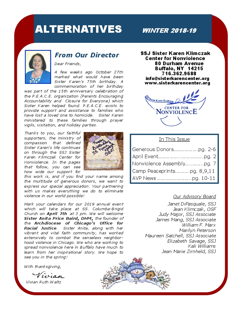 CLICK ON NEWSLETTER TO VIEW WINTER 2018-19 NEWSLETTER