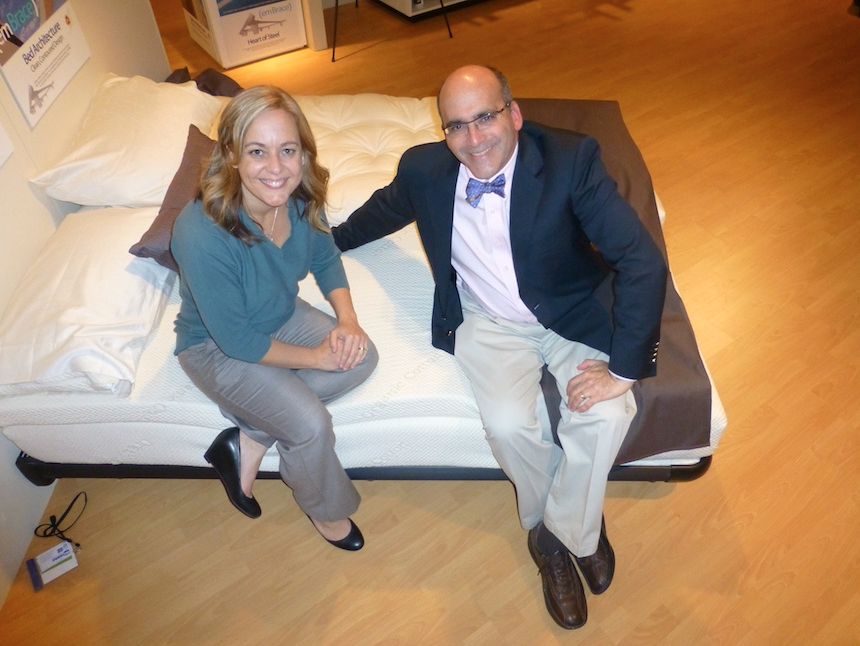 Brandy Alvis and Andy Freedman with the new Ergovea collection from Eco Bedroom Solutions