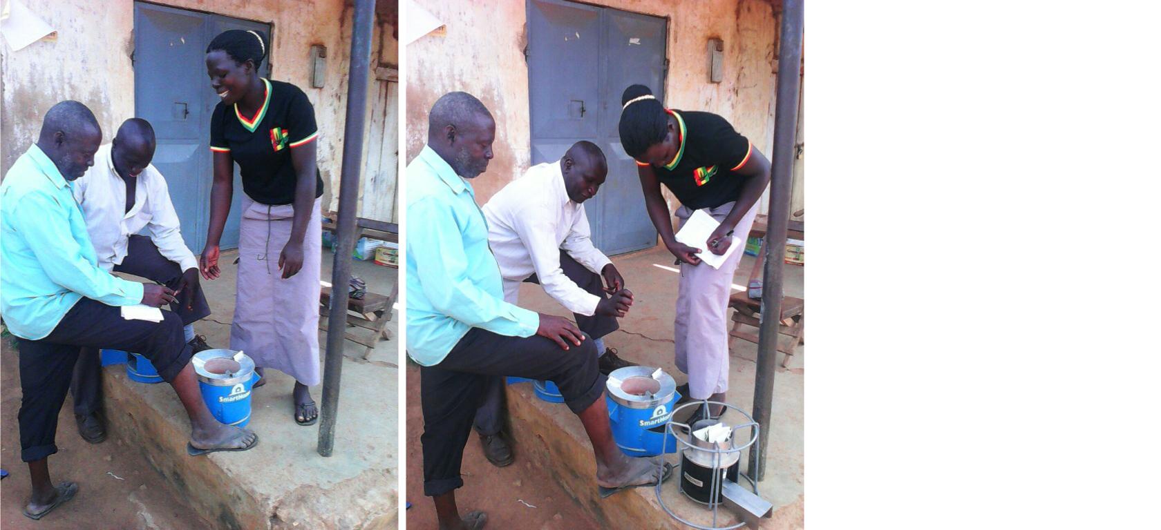 Micro-entrepreneur selling a SmartHome cookstove in Eastern Uganda.