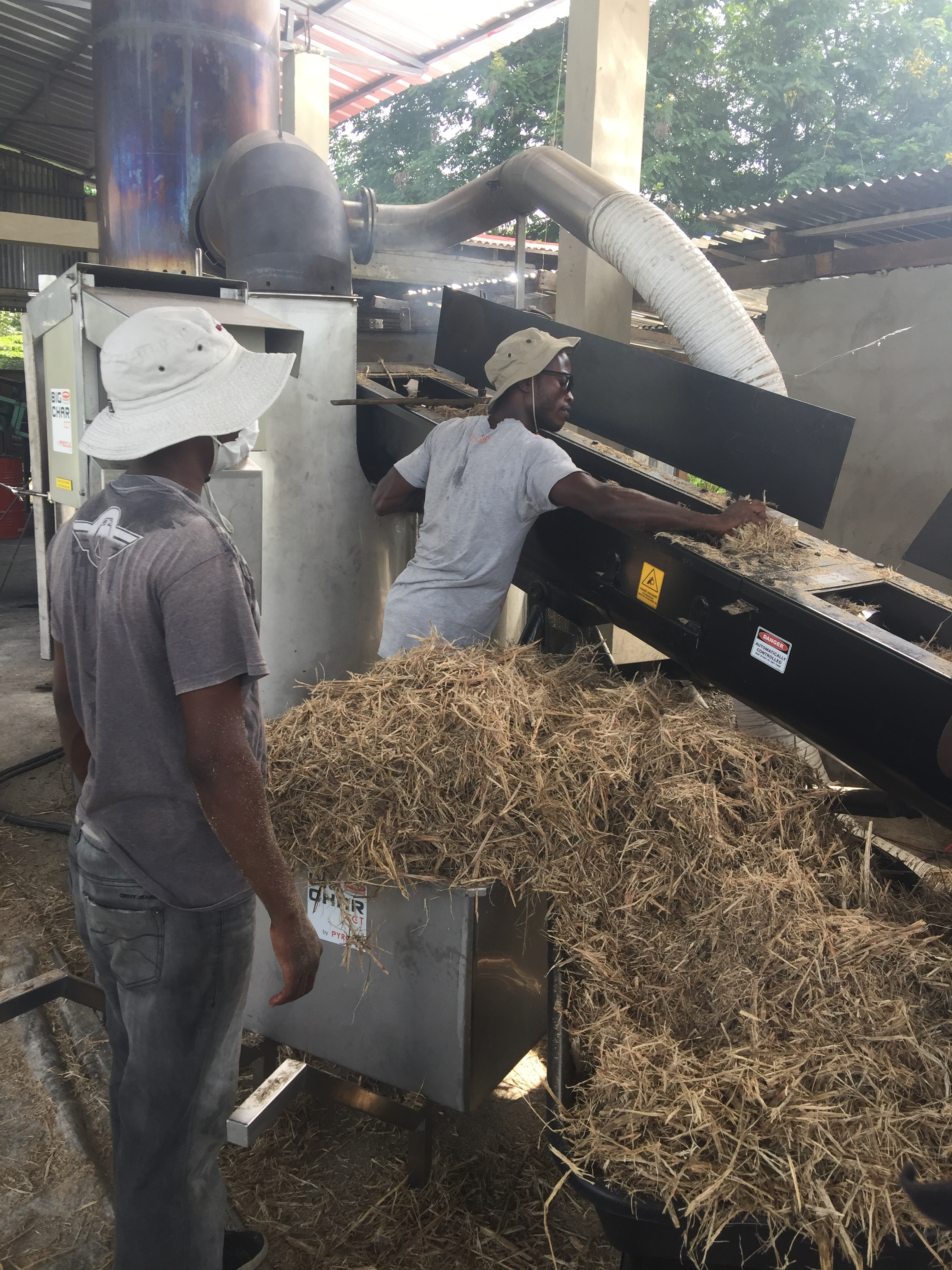 4. The agro-waste is loaded into the pyrolizer.