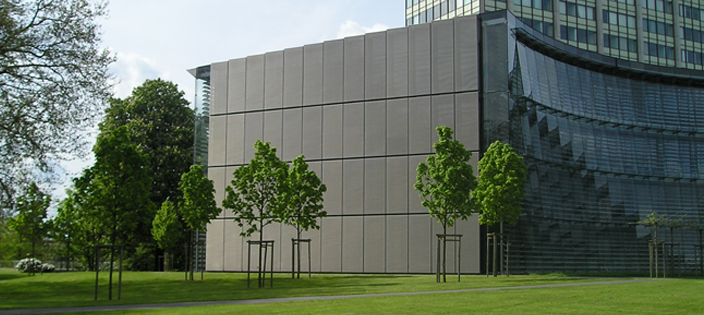 WS Tyler Architectural Woven Metal Fabric;  Bayer Headquarters