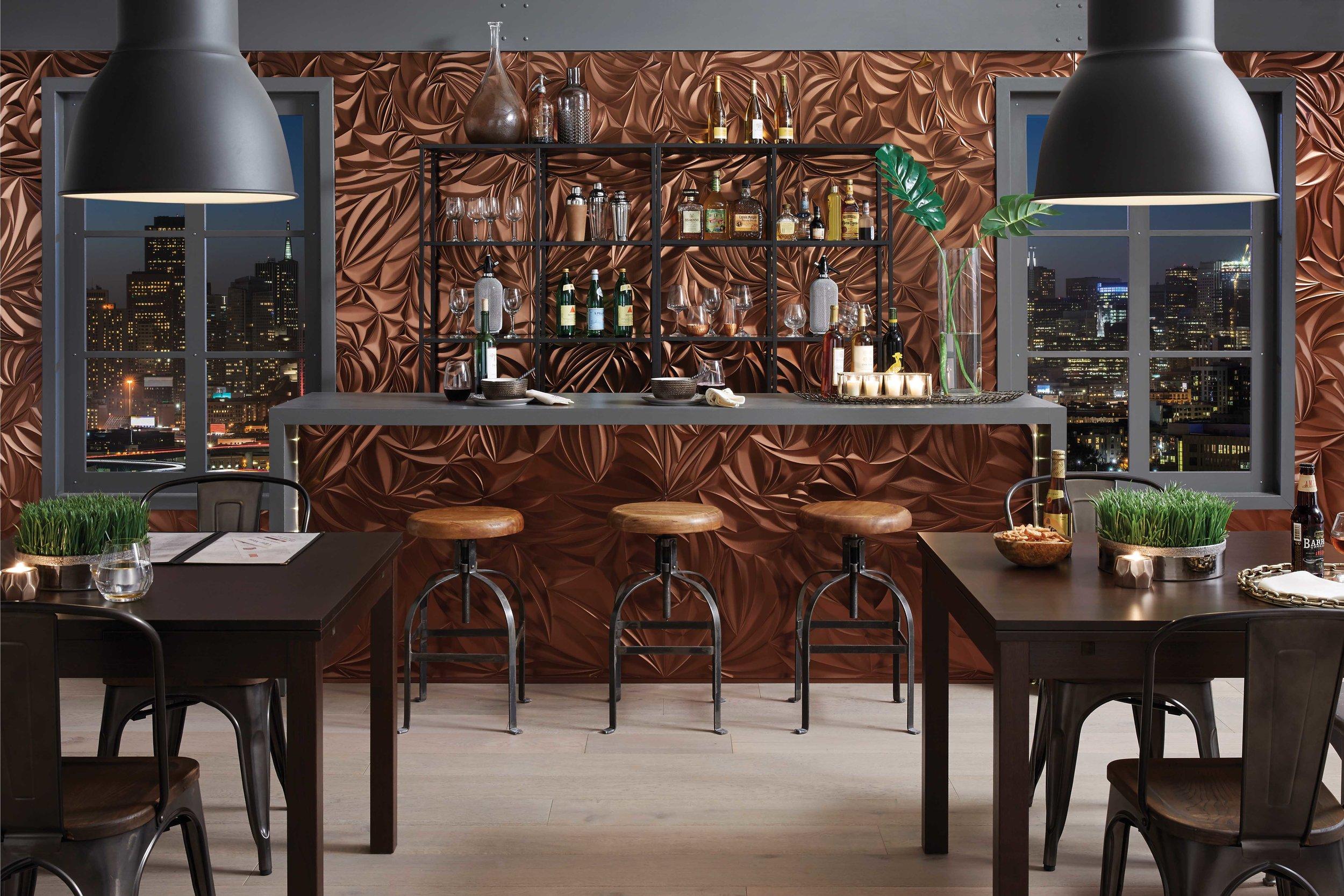 MF Walls_Sculpted Petals Oil Rubbed Bronze_Restaurant Bar 1.jpg