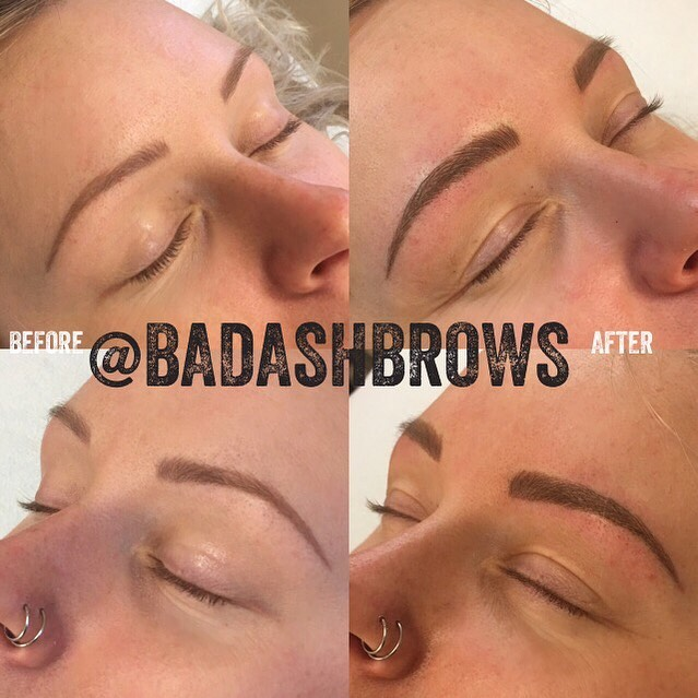 """A little fine tuning to this  gorgeous woman's previously Microbladed (by another artist) brows. Love how natural the """"after"""" looks just by adding a little more thickness."""