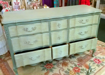 Drawers painted with 3cpaint Mint Sea Glass and dresser body with 3cpaint Deep Water Gray.  Dark Oak wax applied in light and dark variances.
