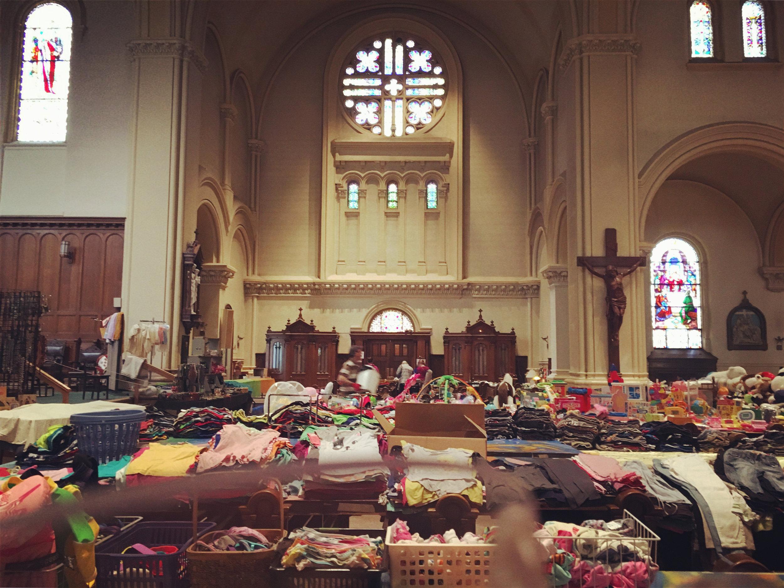 A bazar in a church
