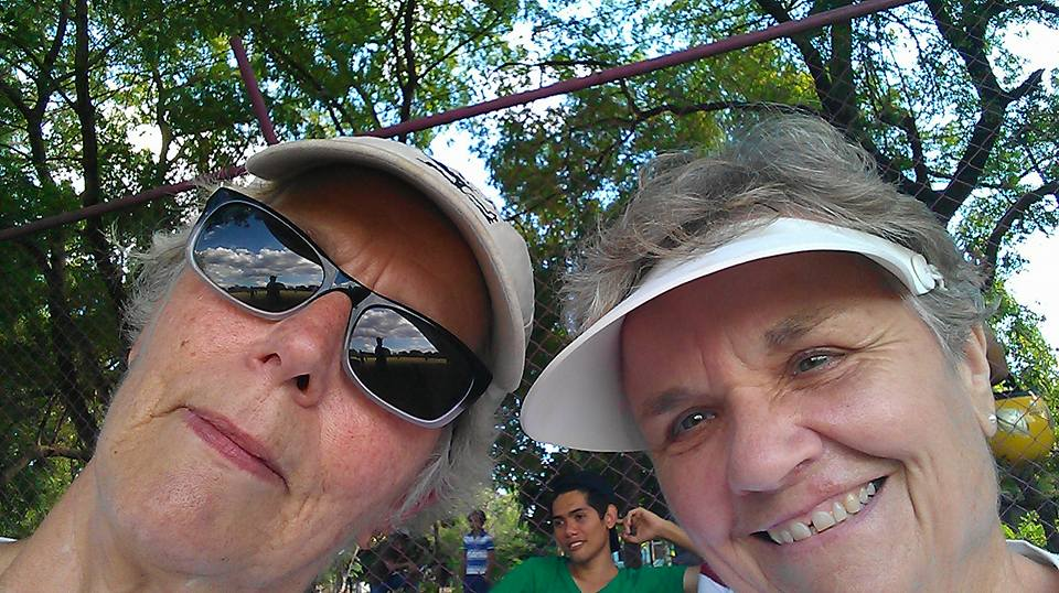 Jacque and Judy enjoying our sponsored baseball tournament.