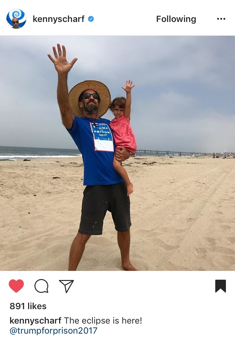 Kenny Scharf - and granddaughter watch the eclipse.