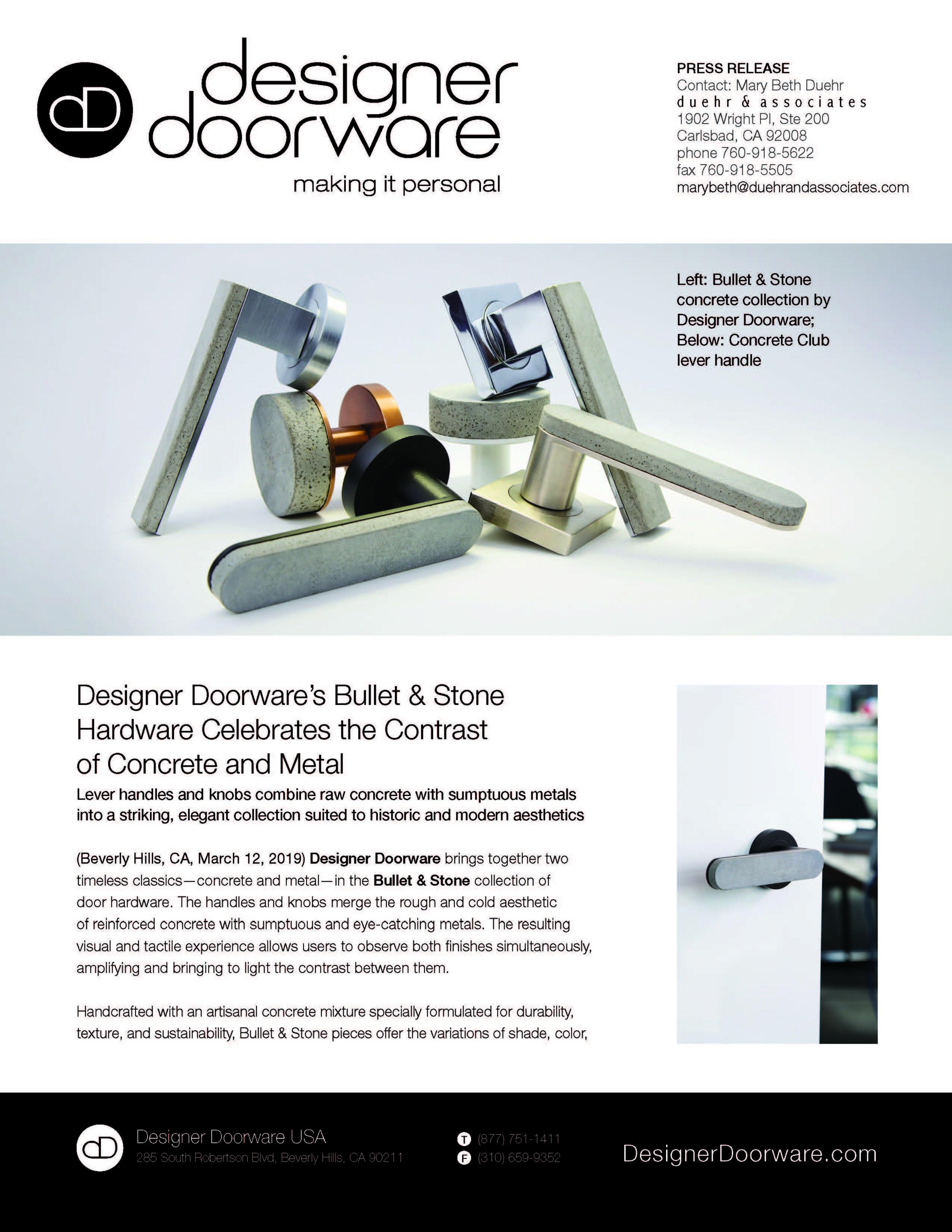 Designer Doorware Press Release