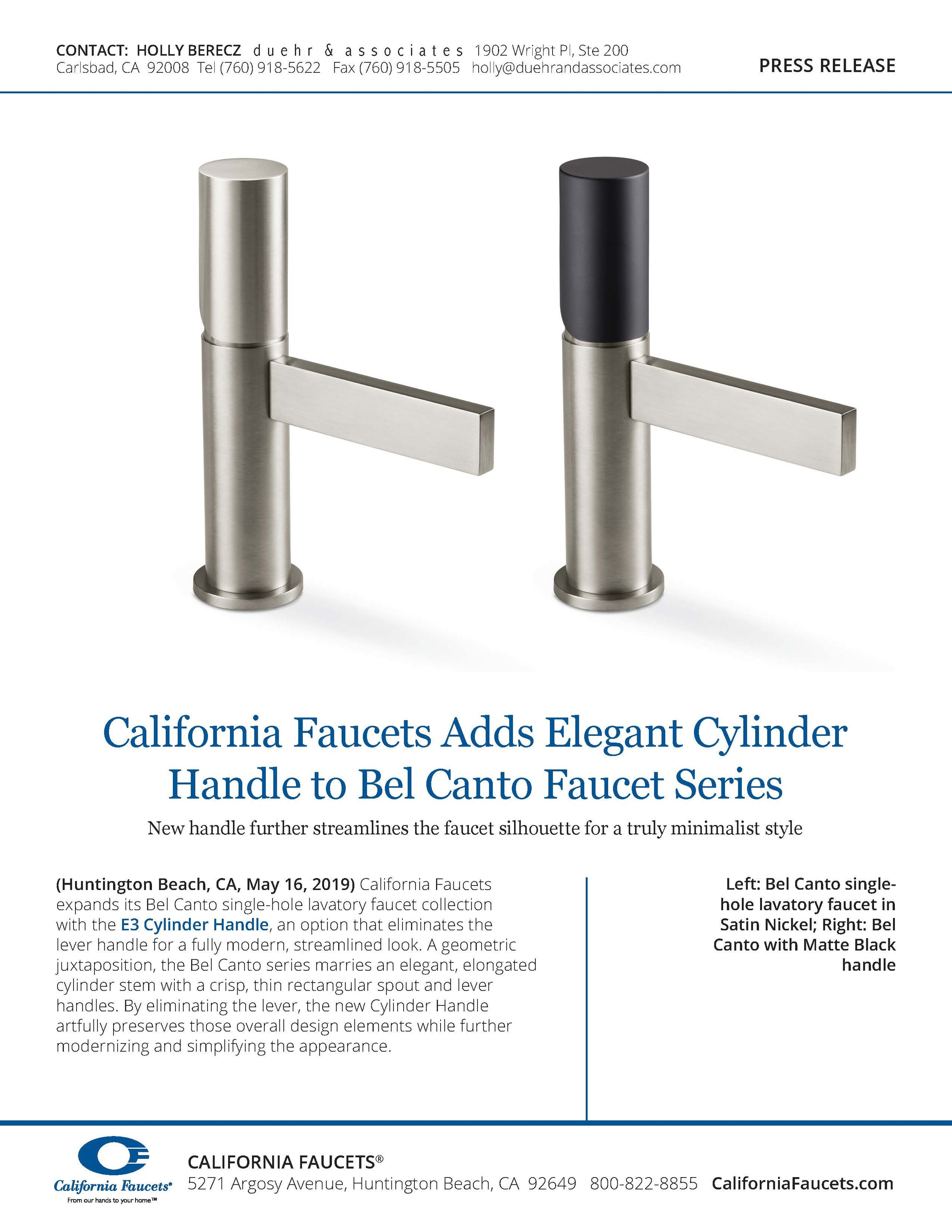 California Faucets Press Release