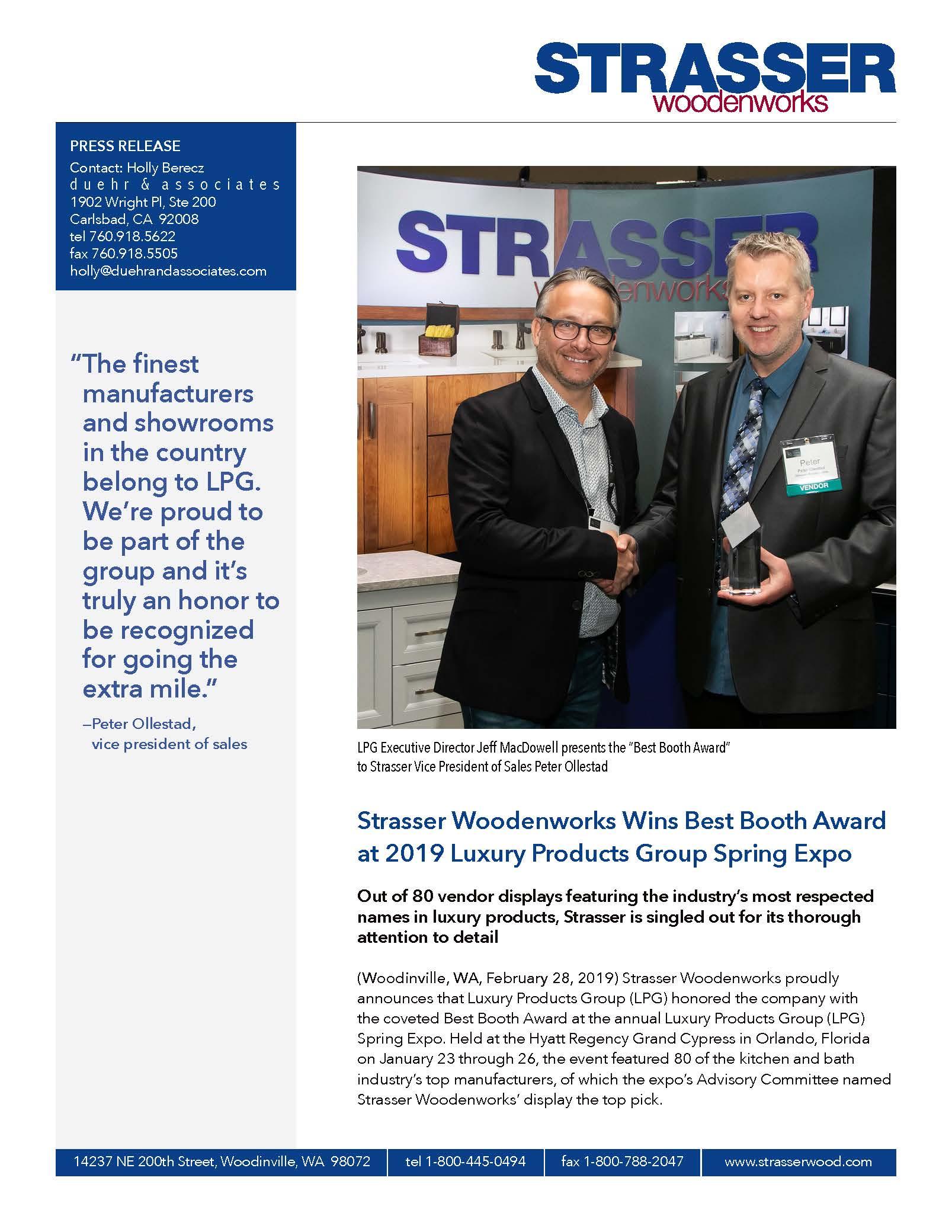 Strasser Woodenworks Press Release
