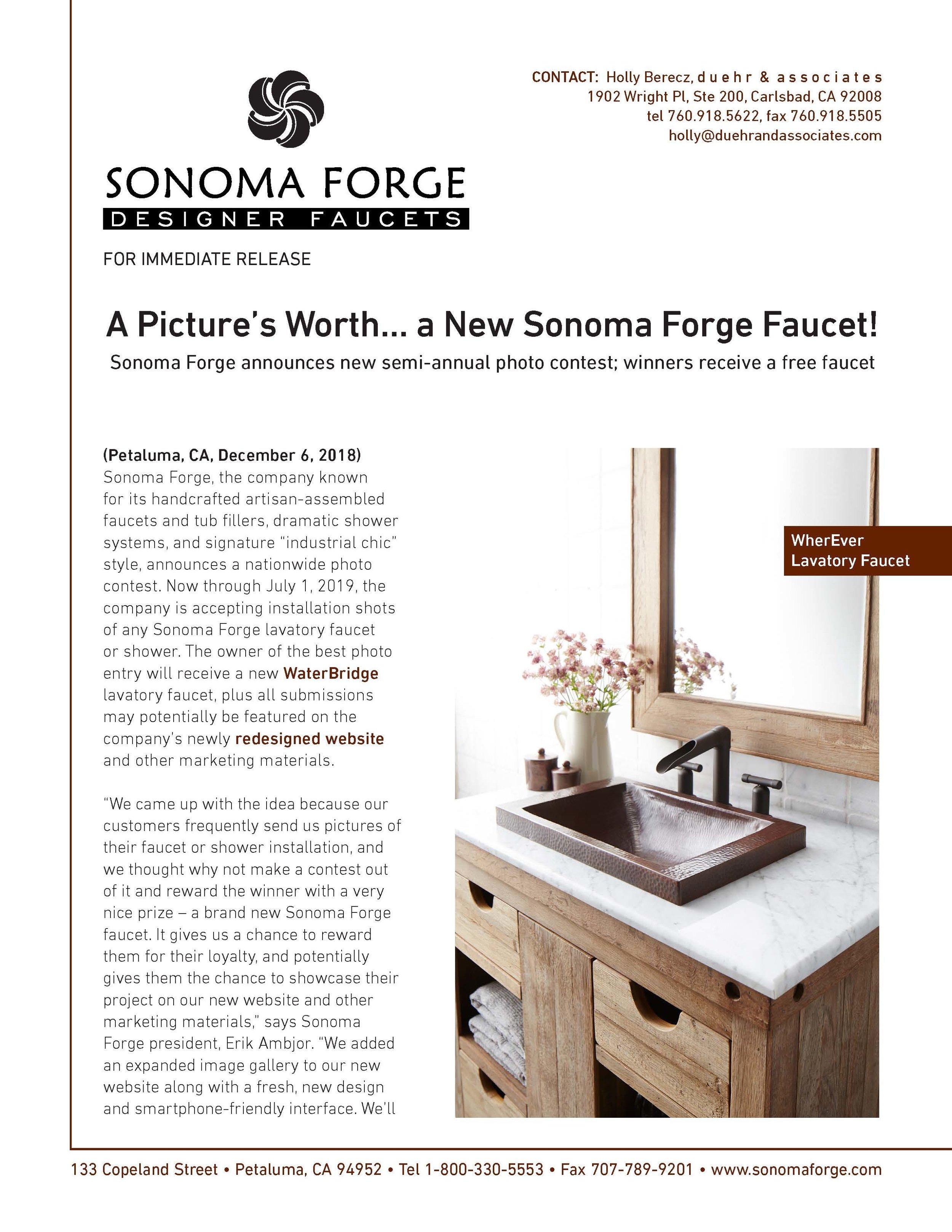 Sonoma Forge Press Release