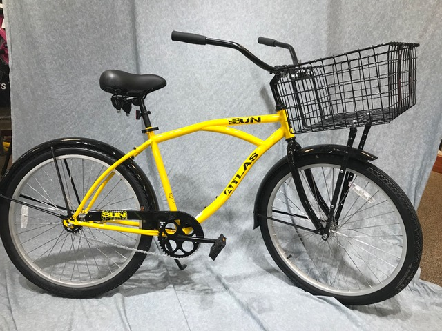 Sun Atlas Industrial Bike, with Basket $450    Heavy duty wheels, steel frame.