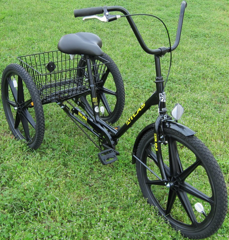 Sun Atlas Transit trike in black. $550    Features rust-proof mag wheels and sealed bearings.