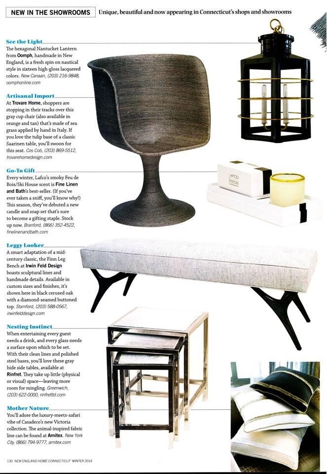 New England Home Magazine   |   Fall 2013   |   Finn Leg Diamond Top Bench