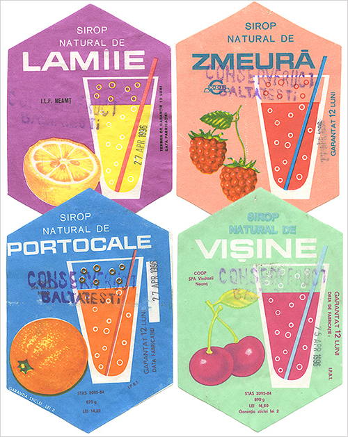 Fruity syrup labels soaked off bottles in my hotel room in Romania, 1994. ©2015 Troy Litten