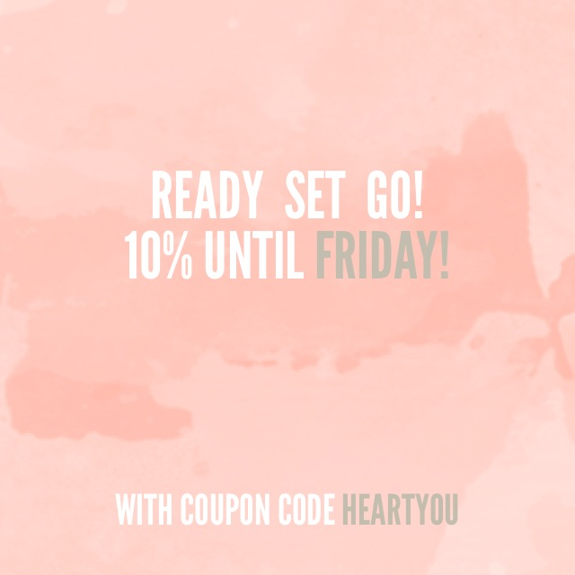 To celebrate our fourth month in business, we are offering 10% off of all orders until this Friday. All you have to do is enter HEARTYOU at the check out for 10% off. We heart you, and thanks for you business and support!