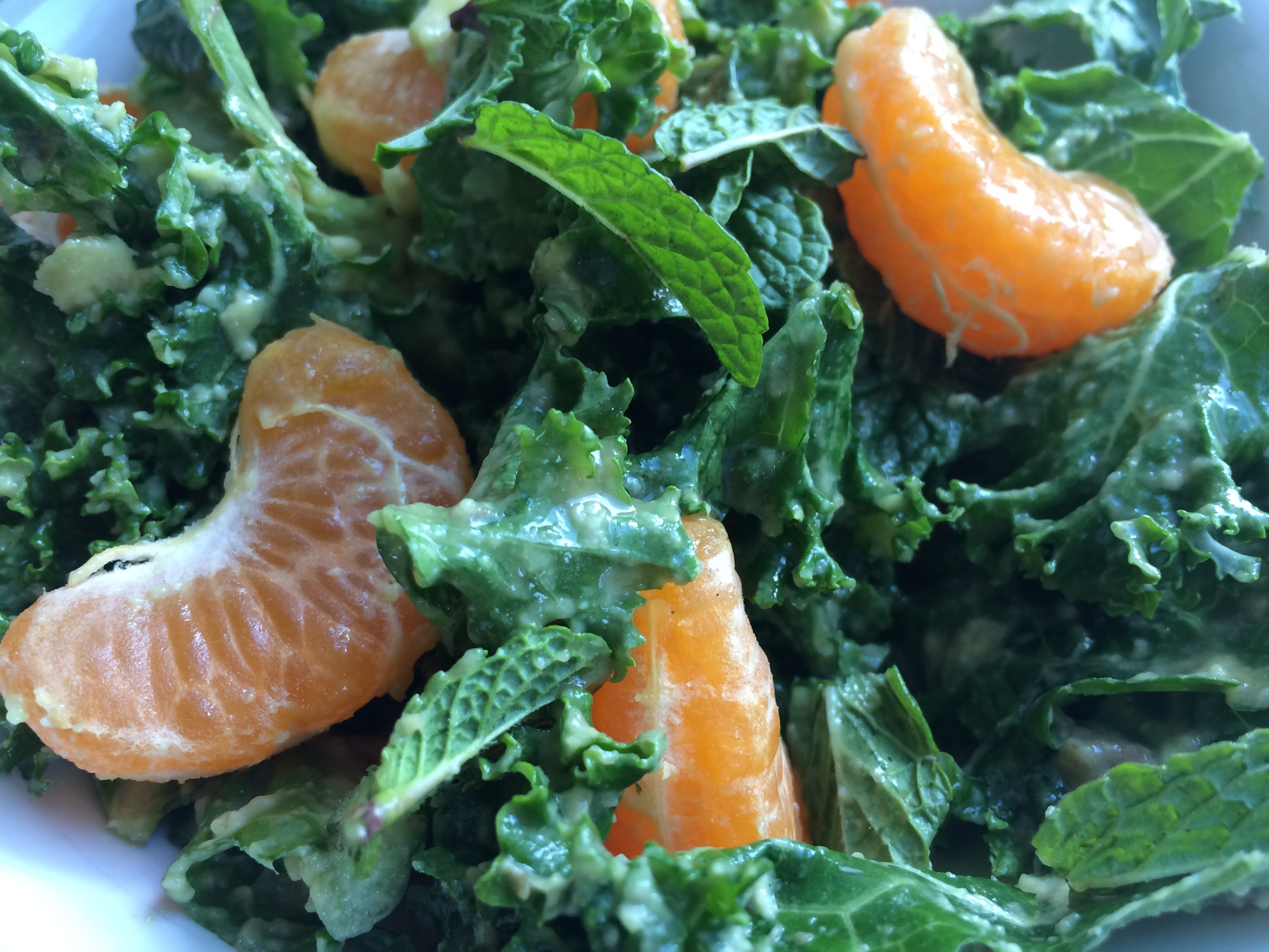 Mandarin Mint Kale Salad   This salad is gorgeous and mouth watering. But don't think you can treat it like other bagged salad greens.