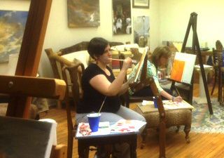 The PIM women of HHBC met at Wimberly Rader's studio for an evening of painting and fellowship.