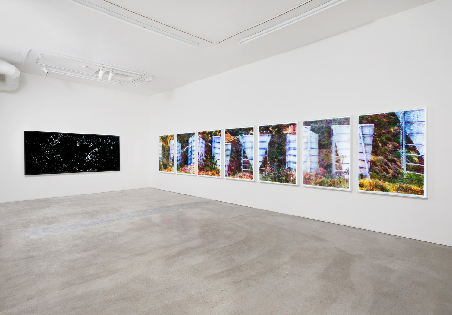 "Installation View of ""Matthew Brandt: Velvet and Bubble Wrap"" at M+B, Los Angeles"